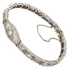 Art Deco Diamond Filigree Gold Bracelet 1930's