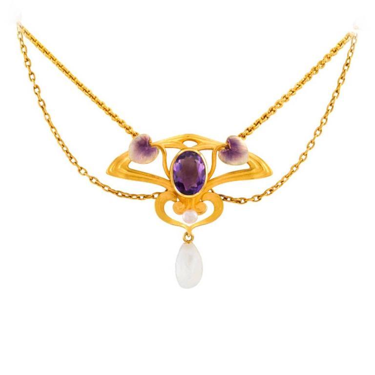 Krementz Art Nouveau Pearl Enamel Amethyst Necklace For Sale