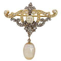 Early 19th Century Pearl Diamond Gold Pin and Chain