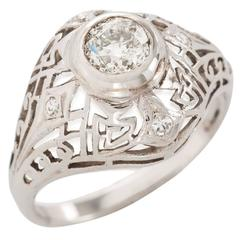 Art Deco Diamond Gold Dome Shape Filigree Ring