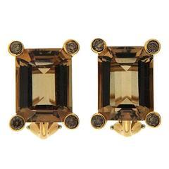Emerald Cut Topaz Diamond Gold Clip Earrings