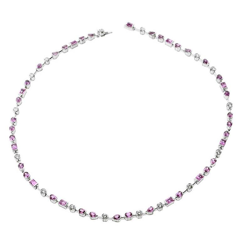 Cartier Pink Sapphire Diamond Gold Choker Necklace For Sale