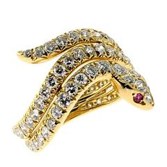 Cartier Ruby Diamond Gold Snake Ring