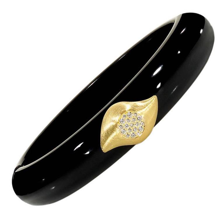 Susan Sadler Vintage Black Bakelite White Diamond Gold Two-Piece Cuff Bracelet For Sale