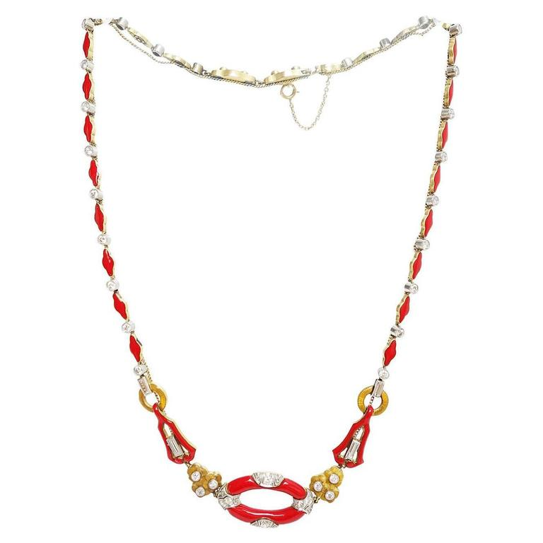 Art Deco Red Enamel Diamond Gold Platinum Necklace 1