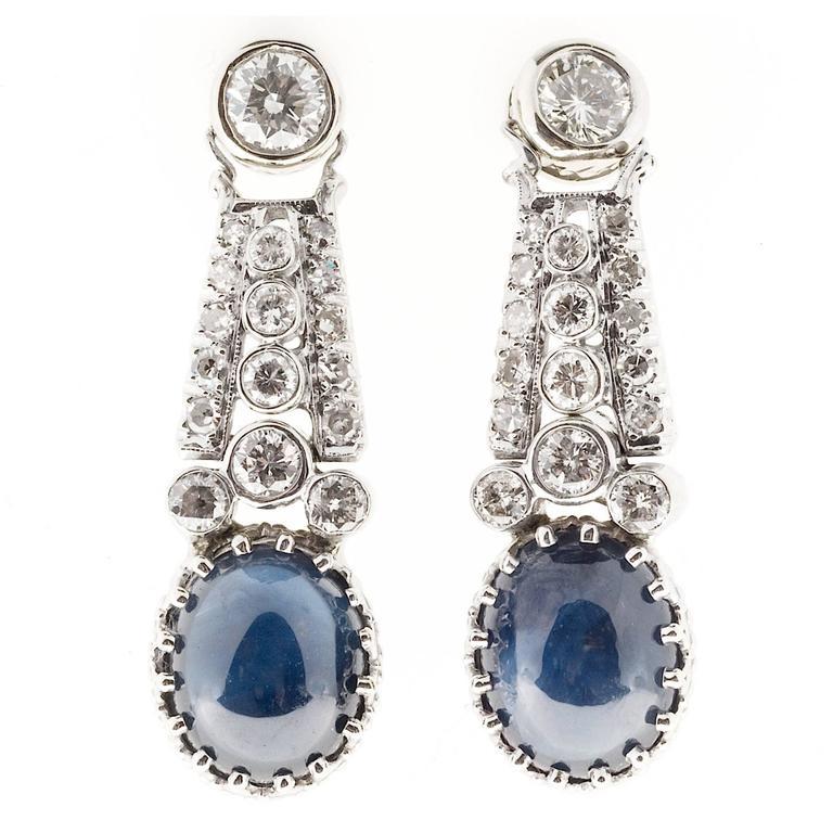 Oval Cabochon Sapphire Diamond Platinum Gold Dangle Earrings
