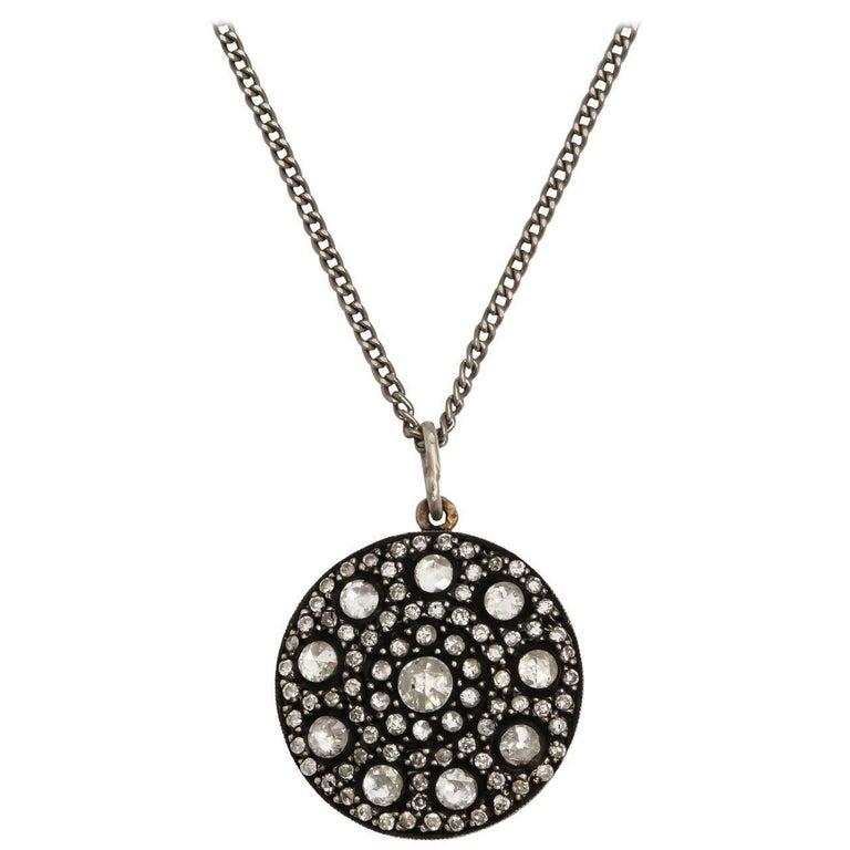 Rose Diamond Cluster Pendant, 20th century For Sale