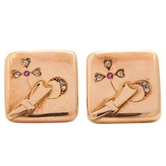 1880s Russian Ruby Diamond Gold Cufflinks