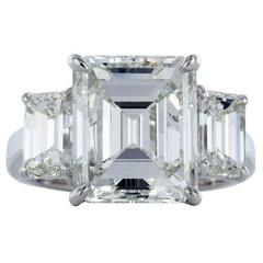 GIA Certified 5.05 Carat Emerald Cut Diamond J/VVS2  Three Stone Ring