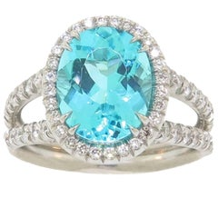 Oval Mozambique Paraiba Tourmaline and Diamond Halo Platinum Ring