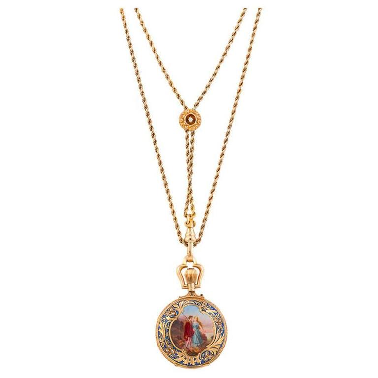 Ladies Yellow Gold Diamond Enamel Hunting Case Pendant Watch 1