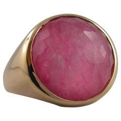 Jona Rubellite Quartz Gold Ring