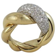 Jona Large Torchon Diamond Yellow Gold Cocktail Ring