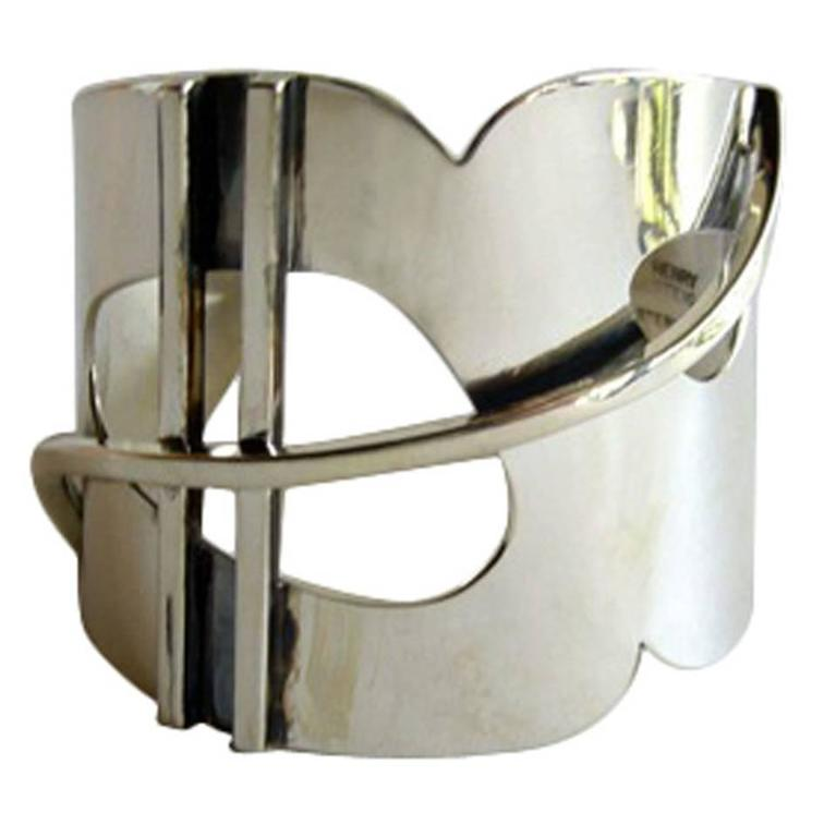 Henry Steig New York Modernist Studio Sterling Silver Bracelet For Sale