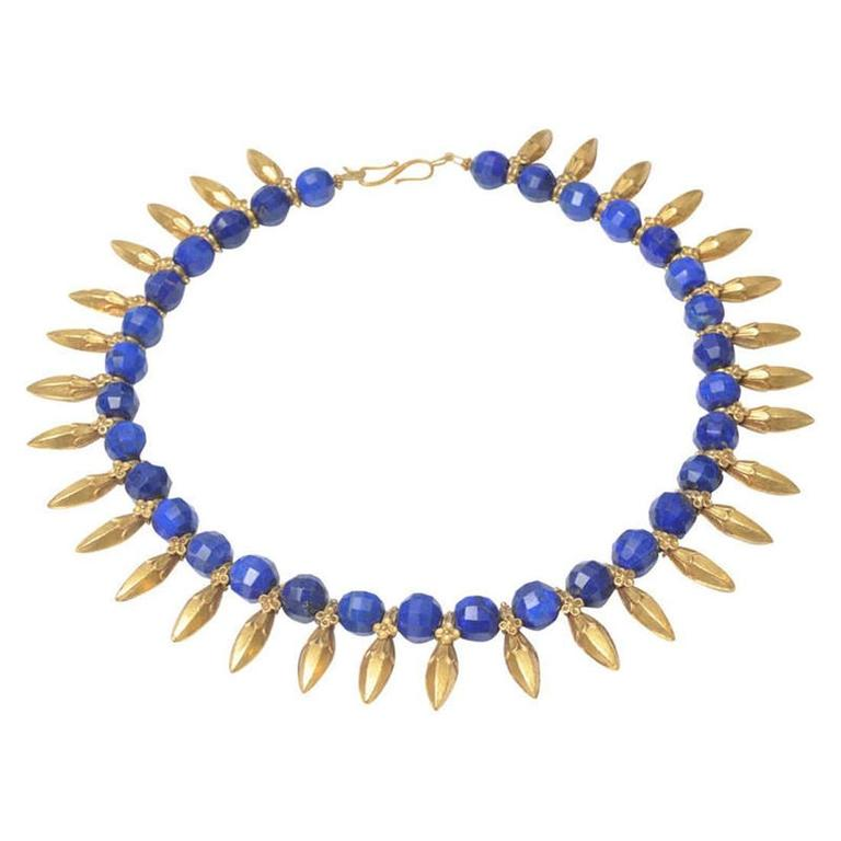 Faceted Peacock Blue Lapis, 22 Karat Gold Necklace by Deborah Lockhart Phillips