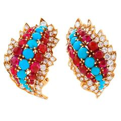 David Webb 1960's Diamond Turquoise Ruby and Gold Earrings