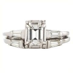 Diamond Emerald Cut Platinum Engagement Ring 1950