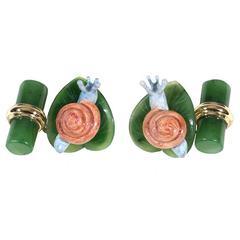 Enamel Jade Gold Snail Motif Cufflinks