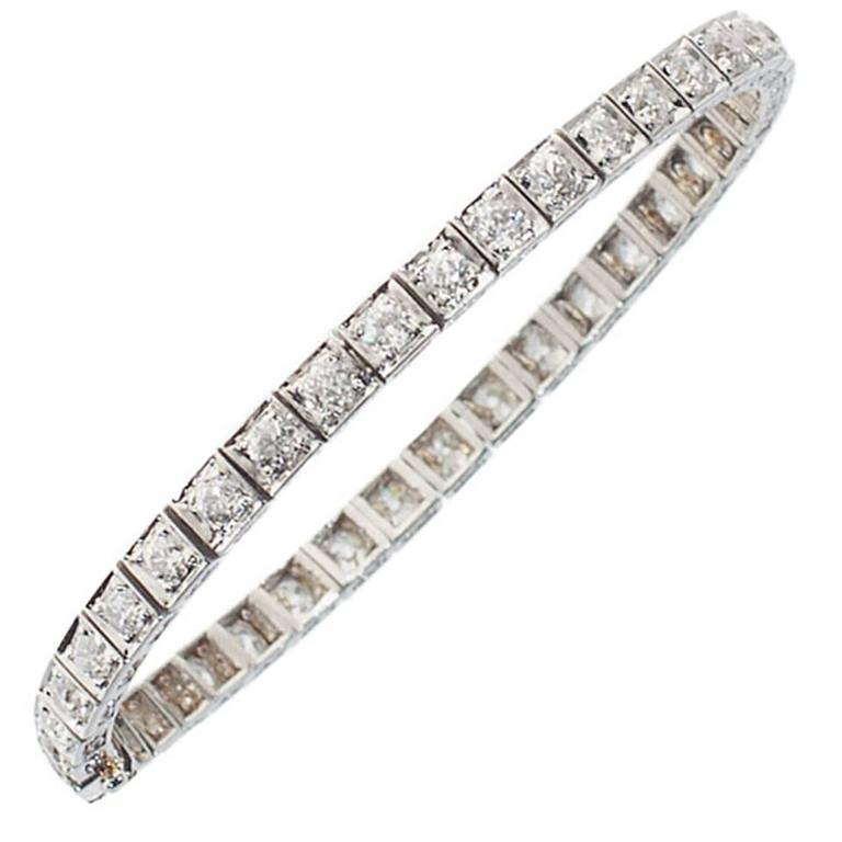 Art Deco Diamond Platinum Line Bracelet 1