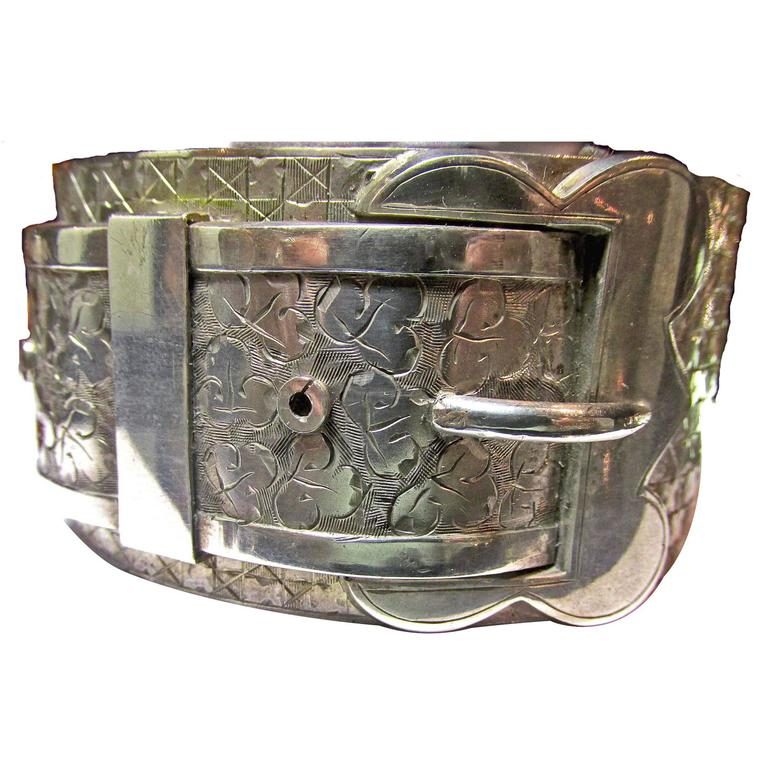 Antique Victorian Sterling Silver Buckle Motif Cuff Bracelet For Sale