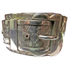 Antique Victorian Sterling Silver Buckle Motif Cuff Bracelet