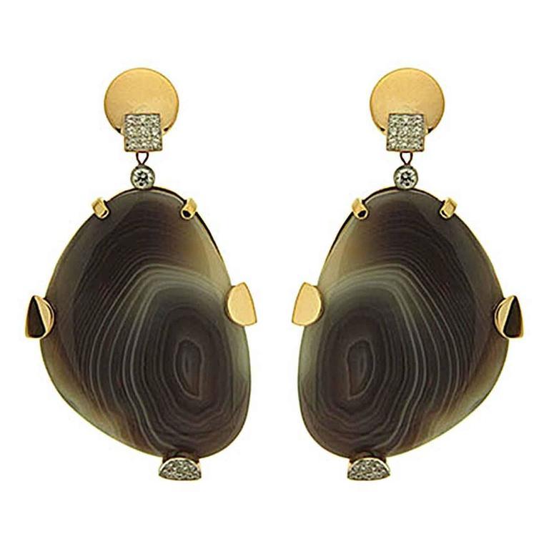 Valentin Magro Botswana Agate Diamond Gold Earrings