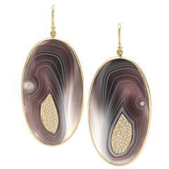 Kothari Botswana Agate Inlaid Diamond Gold Wave Earrings