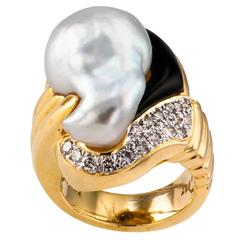 Baroque South Sea Pearl Onyx Diamond Gold Ring