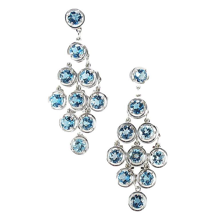 Blue Topaz Chandelier Gold Statement Earrings