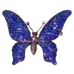 Stunning Sapphire Diamond Gold Tremblant Butterfly Pin Brooch