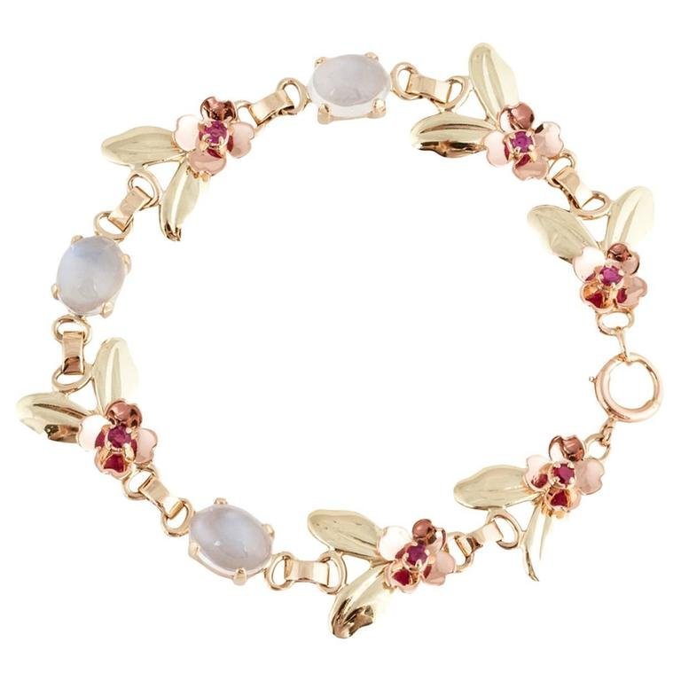 Tiffany & Co. Retro Moonstone Gold Link Bracelet For Sale