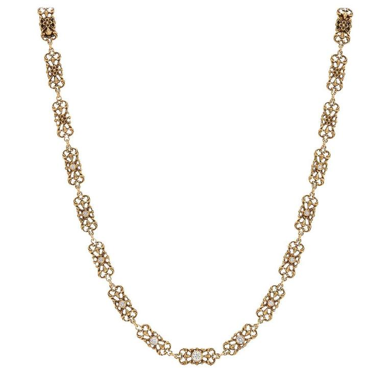 Victorian Diamond Yellow Gold Necklace For Sale