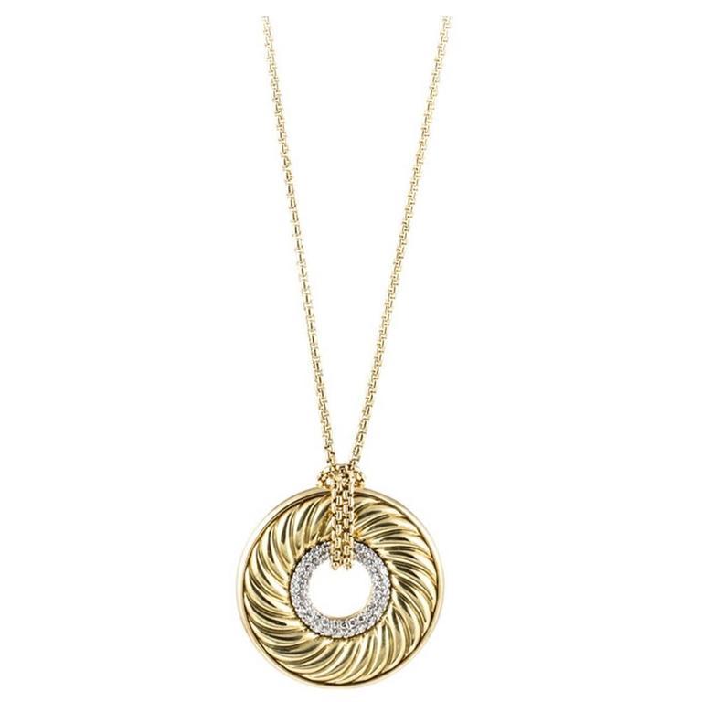 David Yurman Diamond Gold Drop Necklace