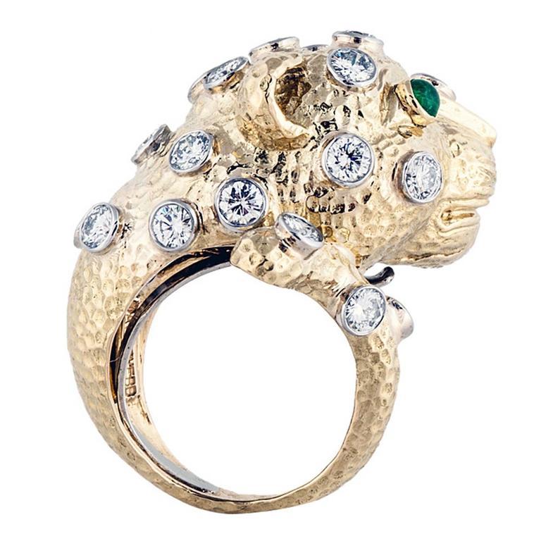 David Webb Diamond gold Leopard Head Cocktail Ring