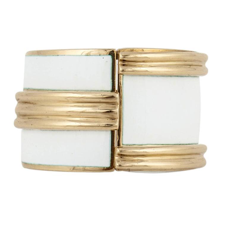 David Webb Enamel Gold Cocktail Ring