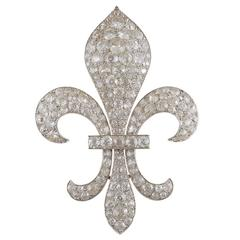Victorian Diamond Silver Gold Fleur-de-Lis Brooch
