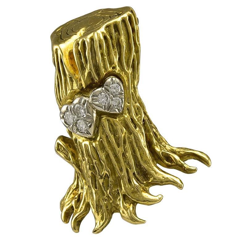 Cartier Aldo Cipullo Romantic Diamond Gold Brooch 1