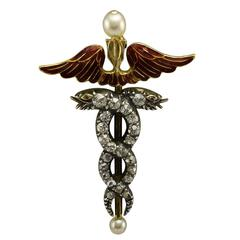 Fine Victorian Red Enamel Pearl Diamond gold Caduceus Brooch