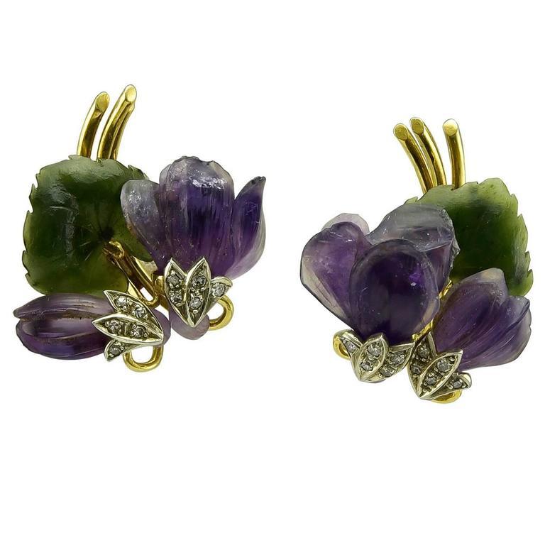 Carved Gem African Violet  Earclips