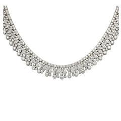 Elegant Diamond Collar Necklace set with 27 Carats Diamonds