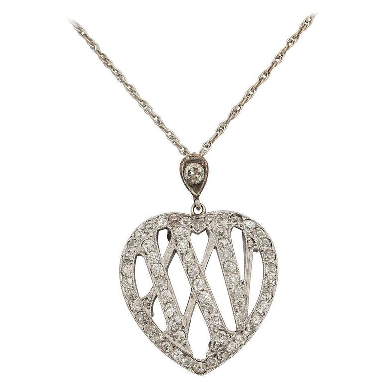 1910 Edwardian Diamond Gold Platinum 25th Anniversary Pendant For Sale