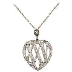 1910 Edwardian Diamond Gold Platinum 25th Anniversary Pendant