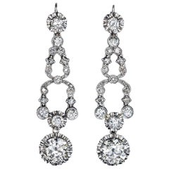 Art Deco Diamond Platinum Dangle Earrings 1920s