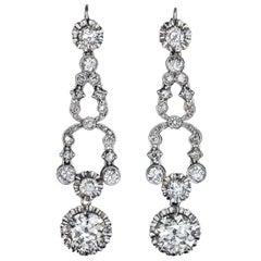 Art Deco Diamond Platinum Dangle Earrings 1920s
