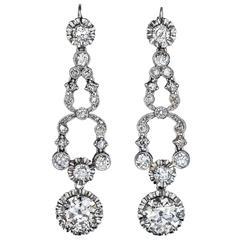 Art Deco Diamond Platinum Dangle Earrings, circa 1920s
