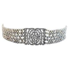 Belle Époque Edwardian Natural Pearl Diamond Platinum Choker