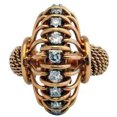 Rare Boucheron Paris Retro Diamond Gold Ring
