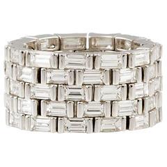 J. Stella Baguette Cut Diamond Platinum Flexible Band Ring