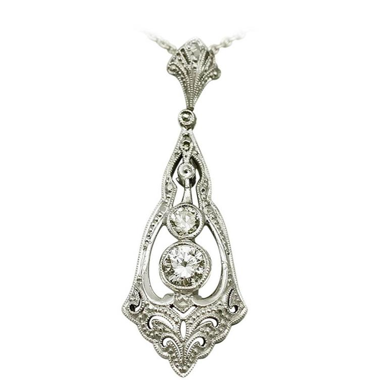 0.44 Ct Diamond and 14 k White Gold Pendant - Art Deco Style - Antique