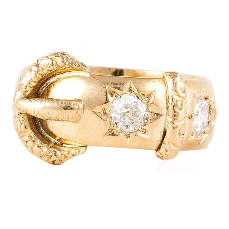 English 18K Yellow Gold Diamond Buckle Ring For Sale